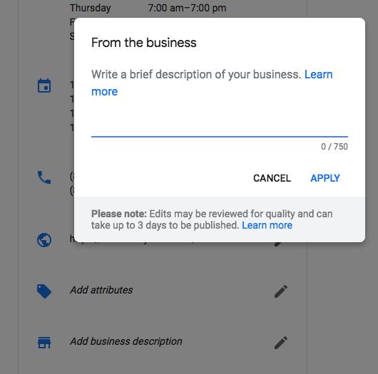 Google My Business đã cho các cập nhật thông tin mô tả doanh nghiệp