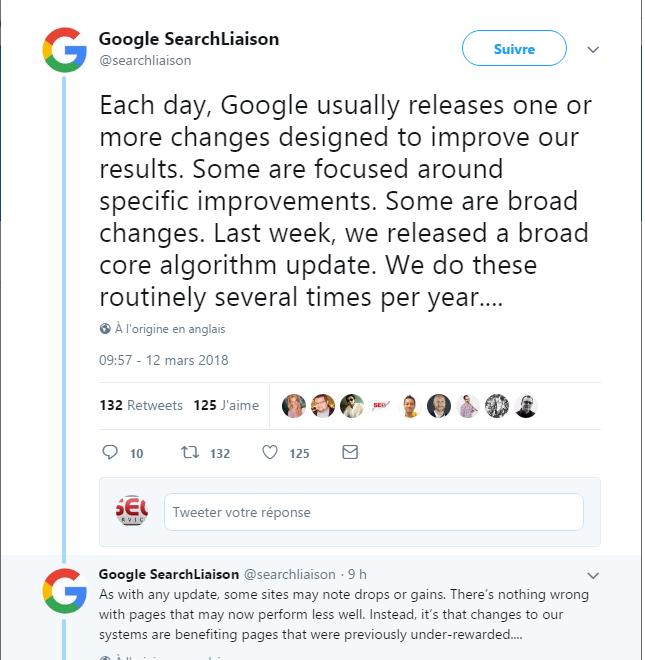 thông báo của google về việc cập nhật thuật toán trên twitter