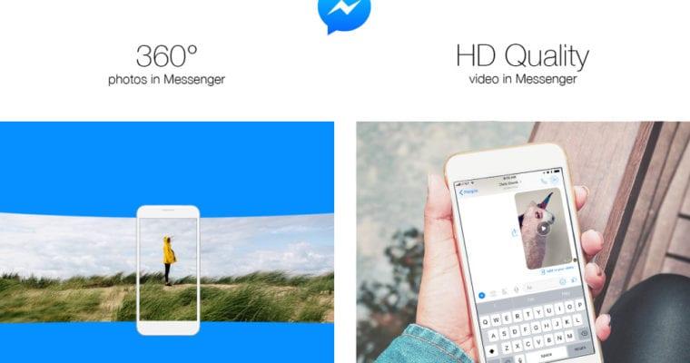 Facebook Messenger hiện đã hỗ trợ hình ảnh HD và 360 độ