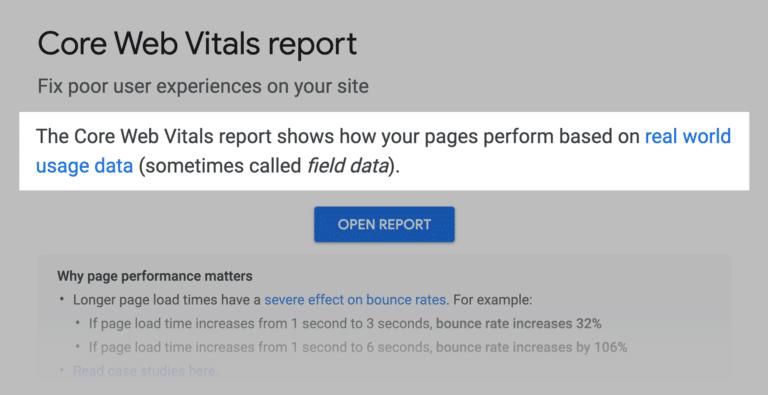 google core web vitals report 768x395 1