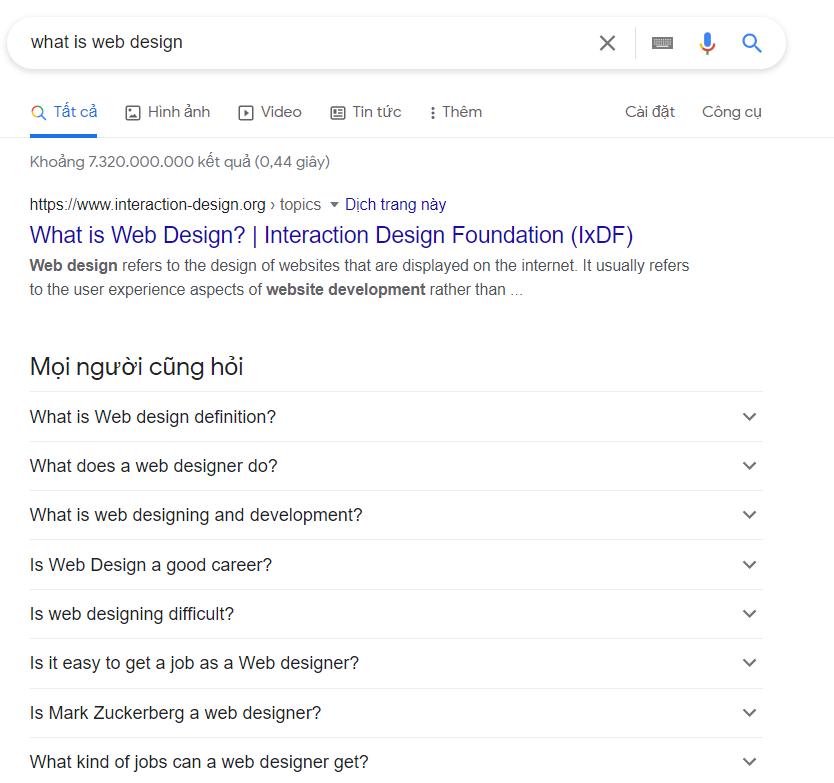 Search thiết kế web là gì