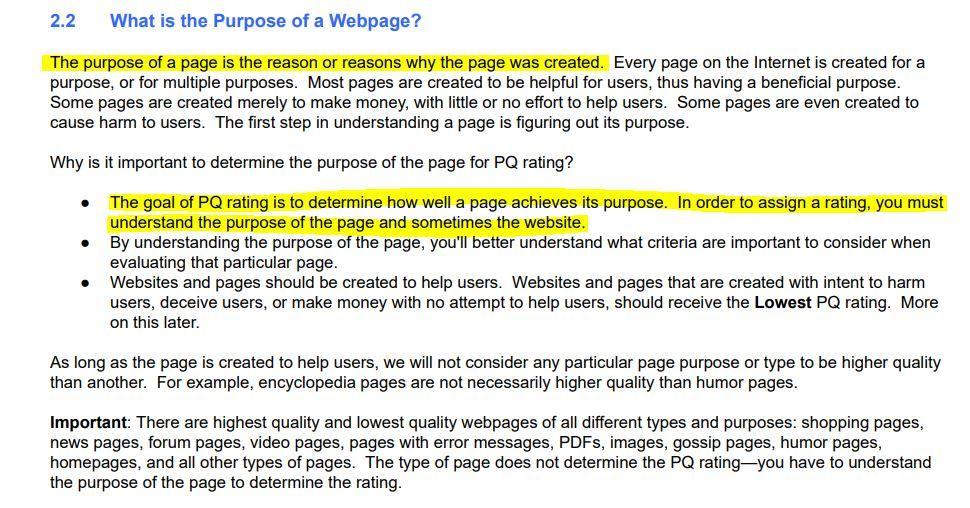 purpose of webpage pq rating