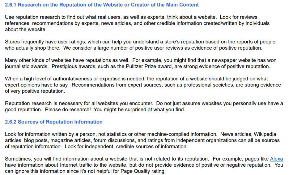 research on reputation of websites